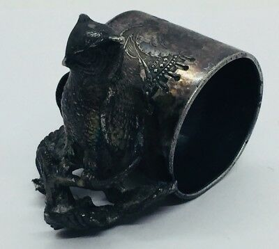 Middletown Antique Silver Plated Figural Owl On Branch Napkin Ring