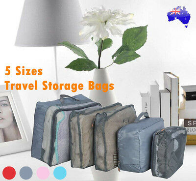 5PCS Travel Luggage Organizer Set Cubes Storage Pouches Suitcase Packing Bags AU