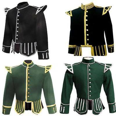 Scottish Mens highland handmade Piper Drummer Military Doublet JACKET in Wool