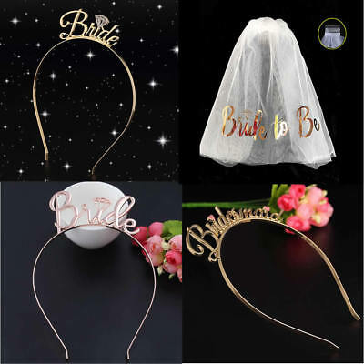 Bride To Be Veil Bridesmaid Tiara Crown Wedding Hen Party Bridal Hairband