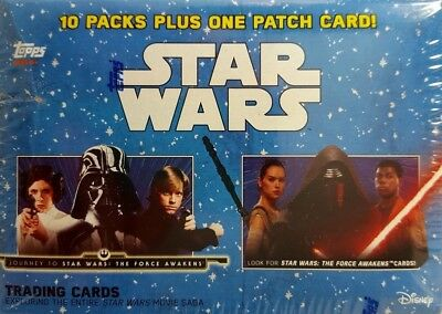 JOURNEY TO Star Wars THE  FORCE AWAKENS Blaster Card Box 10 PACKS + PATCH CARD