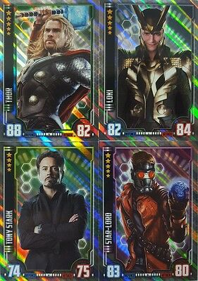 MARVEL HERO ATTAX CINEMATIC UNIVERSE 2016 HOLOGRAPHIC FOIL Card Set of 16