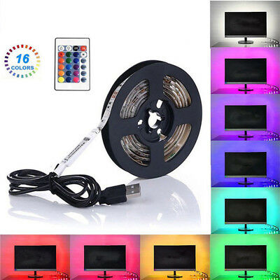 1m 2m 3m 4m 5m USB LED Strip Light 5V RGB 5050 TV Back 16 Colour Changing+Remote