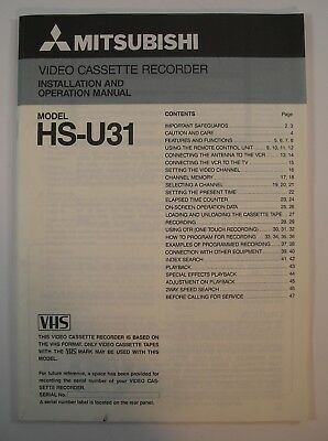 Mitsubishi HS-U31 VCR Video Cassette Recorder Owners Guide Manual Instruction