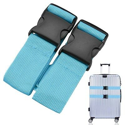 Anti-theft Luggage Strap Long-Cross Strap Travel Baggage Belt, Blue with 2pcs
