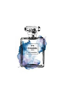 blue watercolour coco chanel perfue bottle print