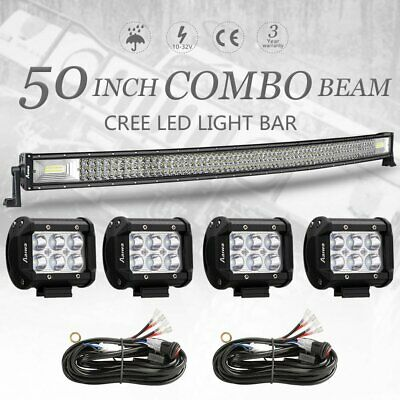 Curved 50inch + 4'' CREE LED Work Light Bar Offroad 4WD SUV For Ford Jeep 52""