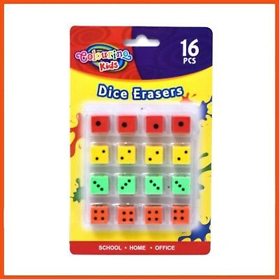 384 x NOVELTY DICE ERASERS ASSORTED COLOURS | Kid's Stationary Small Rubbers