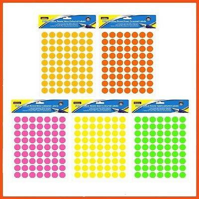 48 x ROUND STICKERS 567 PACK ASSORTED NEON COLOURS | Labels Pricing Promotions