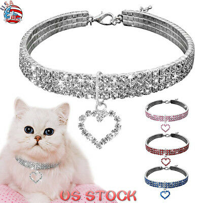 Dog Collar Crystal Necklace Pendant Rhinestone Jeweled Puppy Cat Pet Diamante US