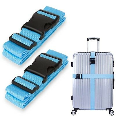 2 Pcs Long Cross Travel Luggage Strap Packing Belts Suitcase Bag Security Straps