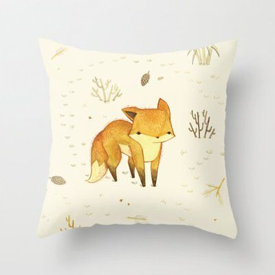 Fox Vintage flannel  Waist Throw Pillow Case Cushion Cover Sofa Home Decor QG