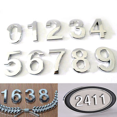 "3'' 2"" CHROME DOOR NUMBERS House Numerals Home Self Adhesive Digit plaques Sign"