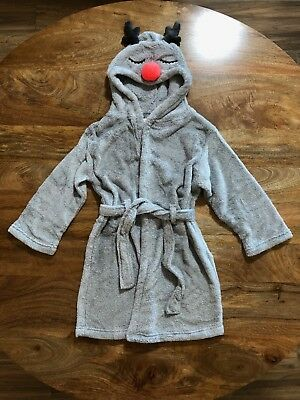 Cotton On Kids Reindeer Dressing Gown, Size 5-6, Hooded - Brand New In Plastic