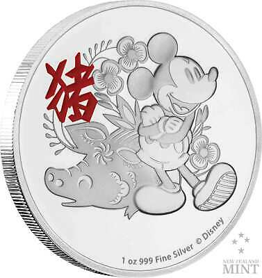 1 oz Disney Mickey Mouse Lunar Year of the Pig 2019 Silver Coin Coin