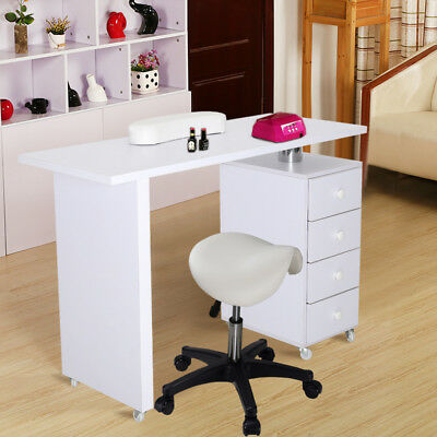 Mobile Manicure Table Nail Art Desk Technician Workstation Draw with Stool Chair