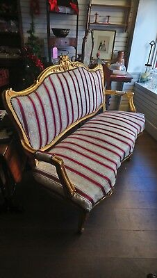 Antique Gilt Framed French Style Settee, Sofa