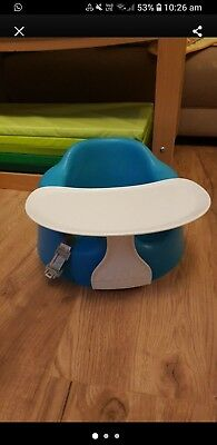 Blue/Green Bumbo Baby Seat With Play Tray Accessory