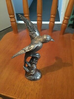 Beautiful Vintage Quality Cast Silver Plated White Metal Bird Figure