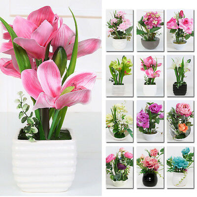 Artificial Fake Flower Potted Plant Bonsai Party Garden Home Decor Fashion G1