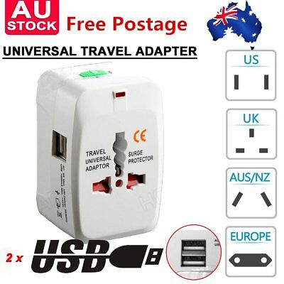 Dual USB Travel Power Charger Universal Adapter AU/UK/US/EU International Plu IA