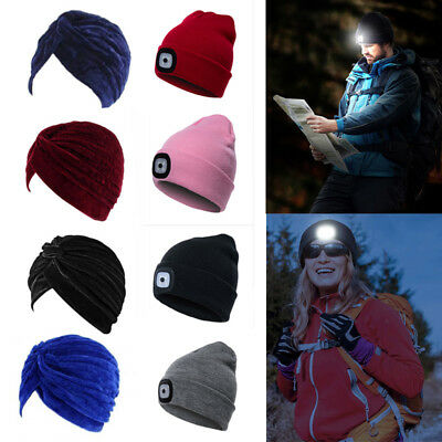 UK Black LED Beanie Hat With USB Rechargeable Battery 5 Hours High Powered Light