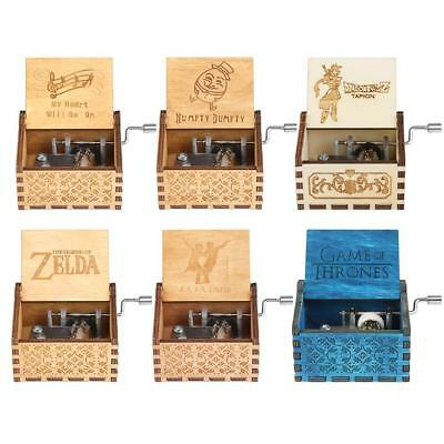 Retro Wooden Music Box Hand Crank Carved Engraved Toys Xmas Kids Birthday Gifts