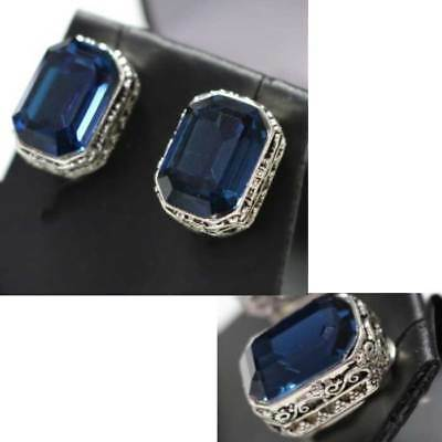 Summer Sale Vintage Carved Antique Radiant Sapphire Earrings 14K White Gold Over