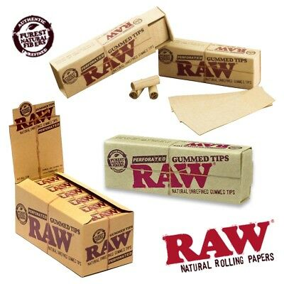 RAW® Gummed Perforated Natural Filter Tips Cigarette Roach Rolling Papers VEGAN