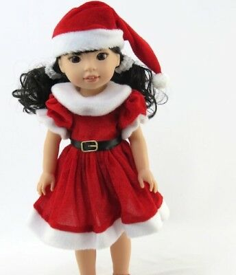 Made to fit 14.5 Wellie Wishers Doll Red Mrs Santa Claus Dress Hat