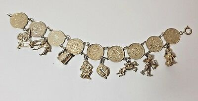 Antique Silver Threepence Coin Bracelet & Rare Vintage Charms
