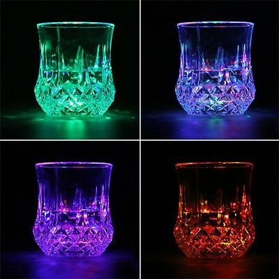 LED Flashing Glowing Water Liquid Activated Light-up Wine Glass Cup Mug Party QT