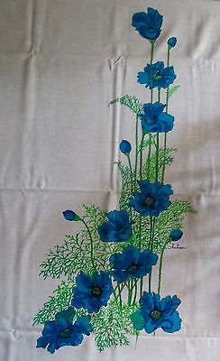 Fabric 60s/70s Alfred Shaheen Signed Panel Linen Blue Green Floral New Vintage