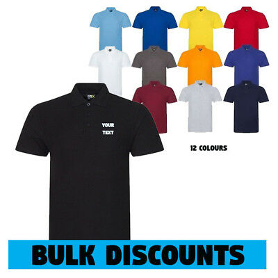 Printed or Embroidered Polo Shirts Personalised Custom Quality RTX  Unisex S-5XL