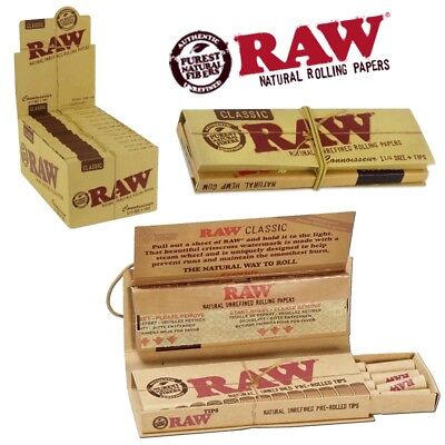 RAW® Classic Connoisseur 1 1/4 Spanish Cigarette Rolling Papers Pre-Rolled Tips