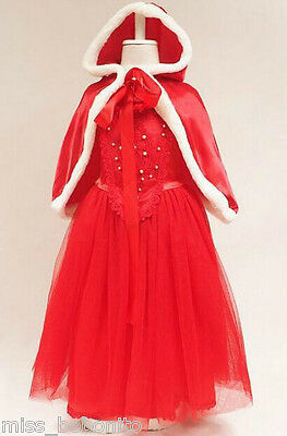 New Little Red Riding Hood Fancy Dress Cape Princess Birthday Gift Party Costume