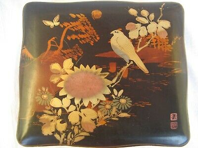 VINTAGE LACKDOSE HANDBEMALT JAPAN ART DECO 50s LACQUER BOX HANDPAINTED signed