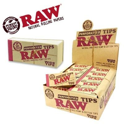 RAW® Perforated Wide Tips Natural Hemp Smoking Rolling Roach Card Filters VEGAN