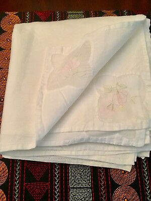 "LOT OF 8 VINTAGE HAND EMBROIDERED Appliqued  15"" X 15"" WHITE NAPKINS"