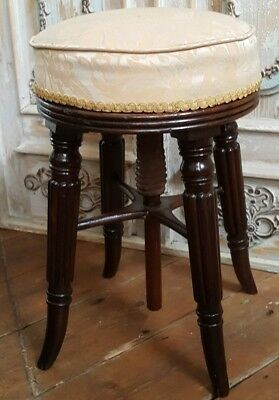 Antique Vintage REGENCY Mahogany Round Piano Dressing Table Stool Seat