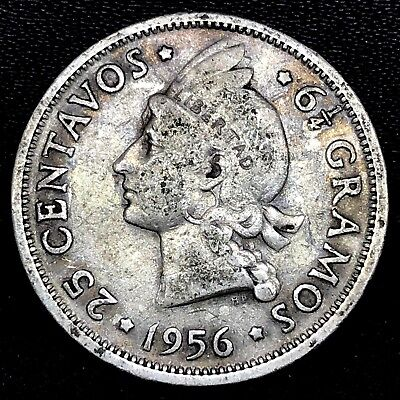 1956~ Dominican Republic ~ 25 Centavos ~ Km # 20 ~ Original~ 0.900 Silver Coin.