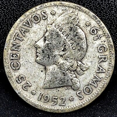 1952~ Dominican Republic ~ 25 Centavos ~ Km # 20 ~ Original 0.900 Silver Coin.