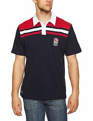 MENS SMALL Official ENGLAND RFU Rugby Cut & Sew Panel Polo Shirt Union Top T