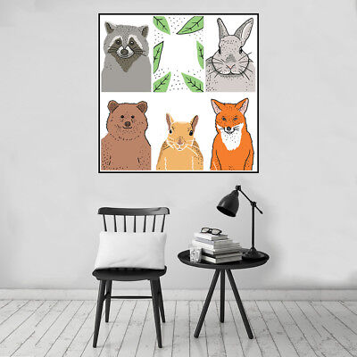 Fun Forest Animals Canvas Art Painting Poster Nursery Baby Room Home Wall Decor