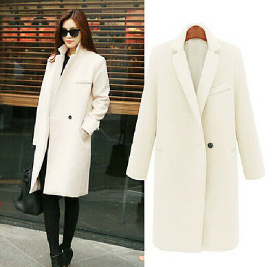 Women's Faux Wool Cashmere Long Winter Parka Trench Coat Outwear Fleece HOT New