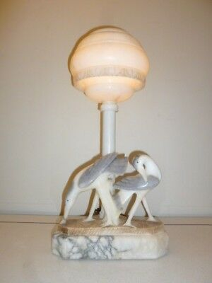 Large rare Art Deco alabaster figural lamp with two bird glass eye circa 1930s