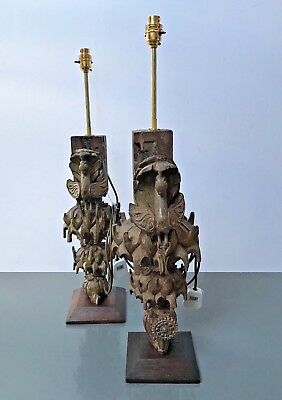 Large Antique / Vintage Indian,  Intricately Hand-Carved Peacock Table Lamps. X2