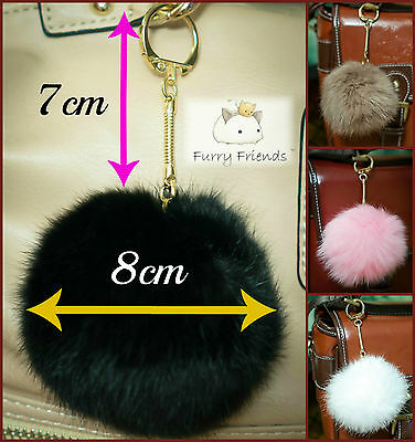 Sale Real Fur Pom Pom GOLD CLASP 8cm Bag Keyrings Keychains Ball Soft PonPon Pon