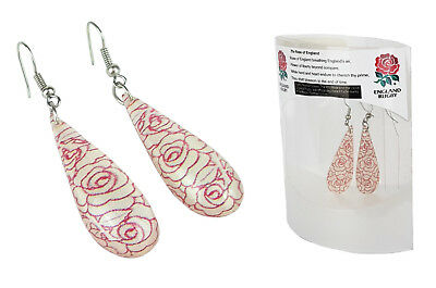 Official ENGLAND RFU Rugby Rose Drop Earrings Womens Dangle Jewellery Ladies