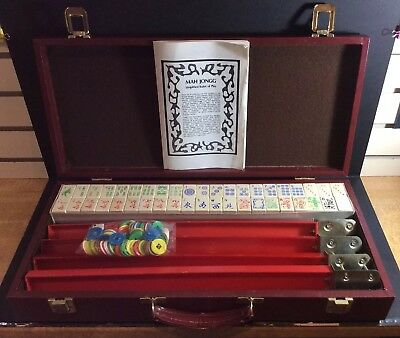 Vintage Mah Jong Set In Fitted Case c/w Instructions & Rules, Counters, Etc.